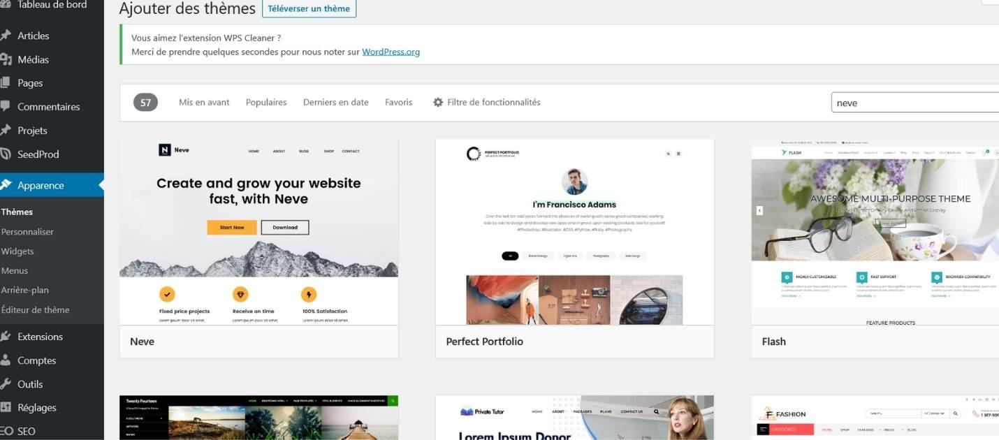 Créer un site WordPress avec Neve